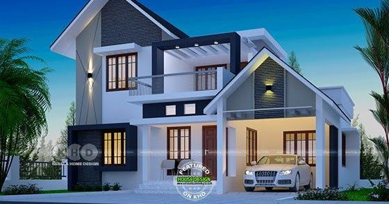 1722 Square Feet 4 Bedroom Cute Double Storied House Home Stairs Design Duplex House Design Double Storey House Plans