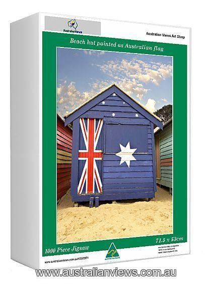 AUSTRALIA  BEACH   FLAG HUTS  PHOTO PRINT
