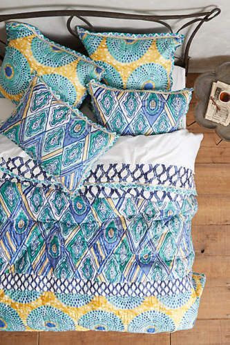 New-Anthropologie-Blue-Turquoise-Crackled-Batik-Quilt-Queen-Size-Ikat-with-Shams