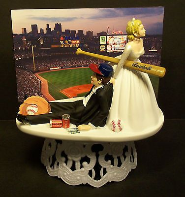ATLANTA BRAVES STADIUM BASEBALL Bride & Groom WEDDING CAKE TOPPER FUNNY