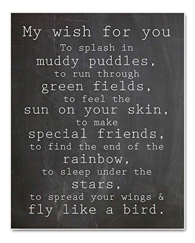 """""""My Wish For You"""" Nursery Art Chalkboard Typography Print, Perfect Christening, Bapstism or New Baby Gift, 8x10"""""""