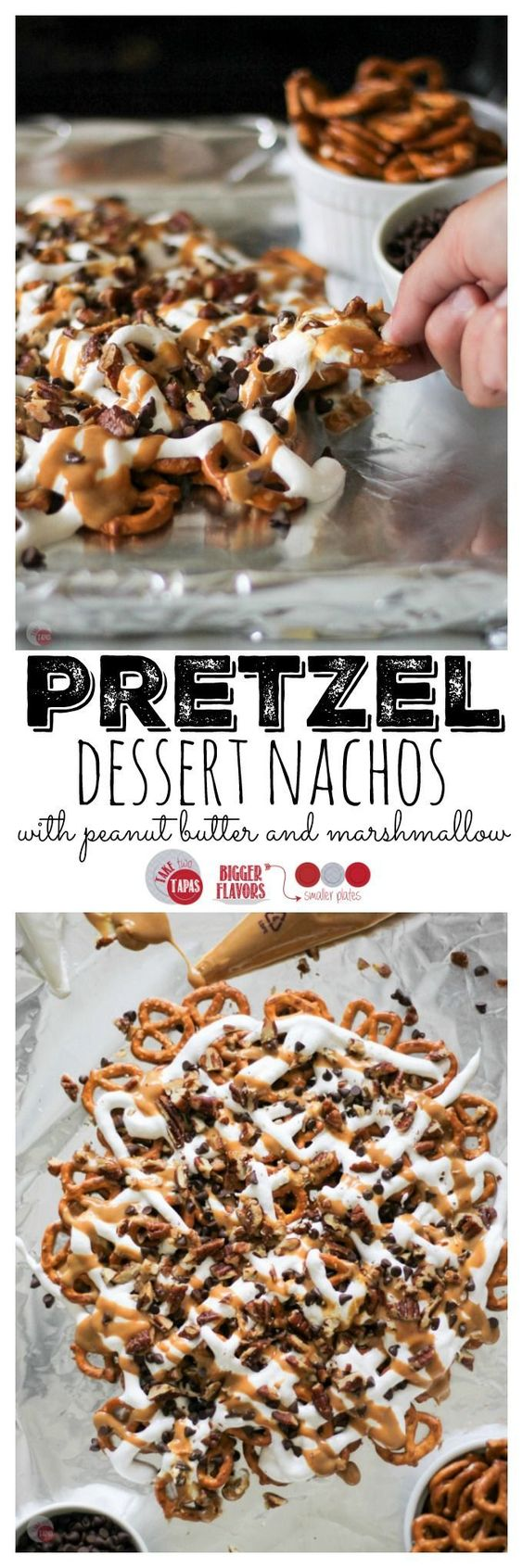 Pretzel Dessert Nachos are a new twist on a savory favorite. Salty pretzels used as chips and topped with peanut butter, marshmallow cream, chocolate chips, and buttery toasted pecans. Pretzel Dessert Nachos Recipe | Take Two Tapas: