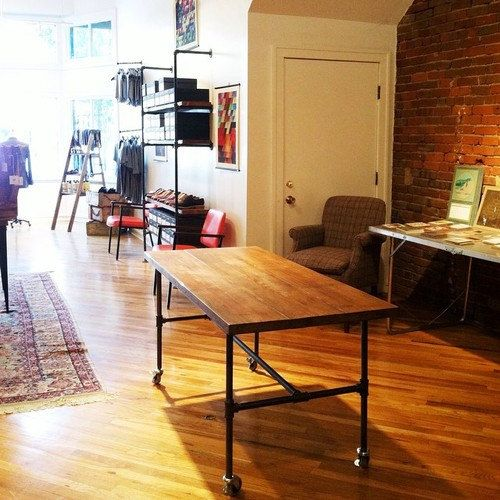 rustic industrial mobile table work station display table dining table kitchen island: dining table with wheels