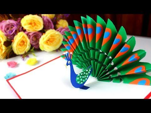 Diy How To Make Peacock Pop Up Card Easy Blue And Green Peacock With Paper Handmade Birthday Car Handmade Birthday Cards Diy Pop Up Cards Birthday Card Craft