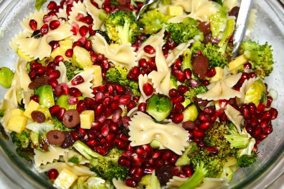 Christmas Pasta Salad Cheese Olives And Pomegranates