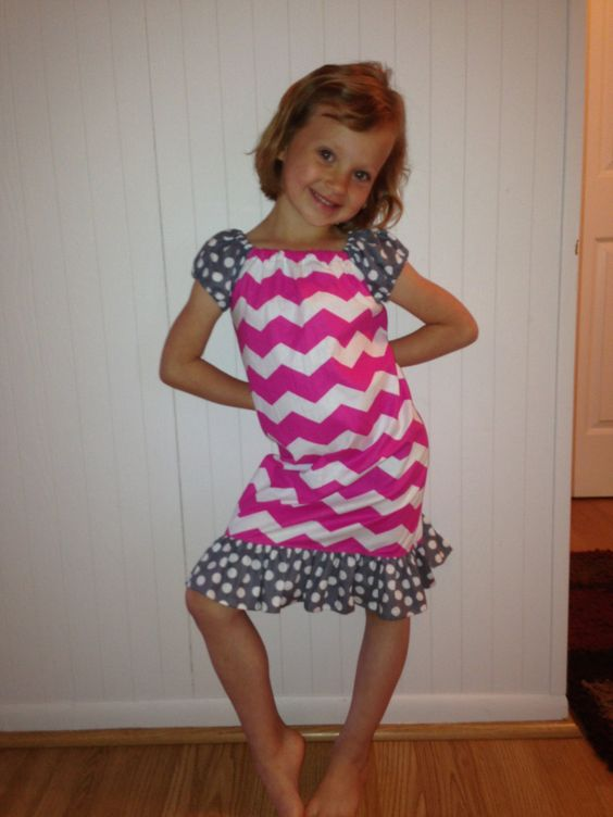 Chevron Ruffled peasant dress size 4t 6 by Littleticas on Etsy, $22.00