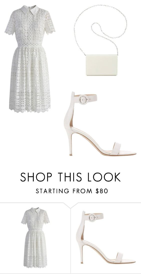 """White."" by elisabeth-galfano ❤ liked on Polyvore featuring Chicwish, Gianvito Rossi and Nine West"