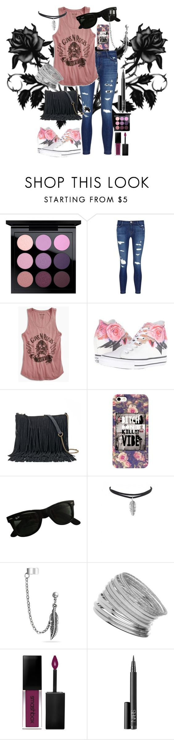 """Untitled #538"" by vampwriter ❤ liked on Polyvore featuring MAC Cosmetics, J Brand, Lucky Brand, Converse, SONOMA Goods for Life, Ray-Ban, Bling Jewelry, Miss Selfridge, Smashbox and NARS Cosmetics"