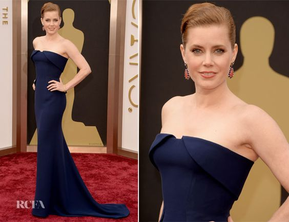 Amy Adams in Gucci Première - Oscars 2014  {custom sapphire silk crepe tuxedo-inspired w a fitted bodice and train}