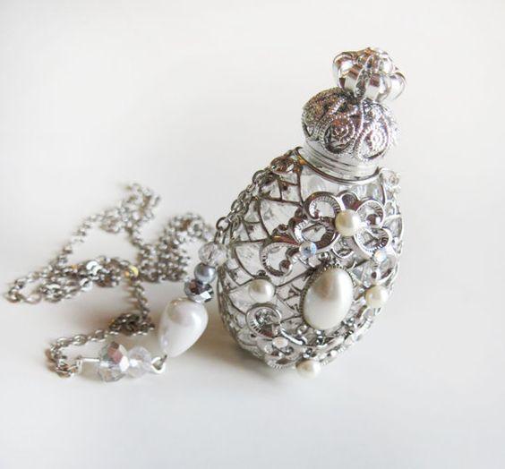 Perfume Bottle Silver Filigree Pearl Jewelry by ElvenDesignArt, $80.00