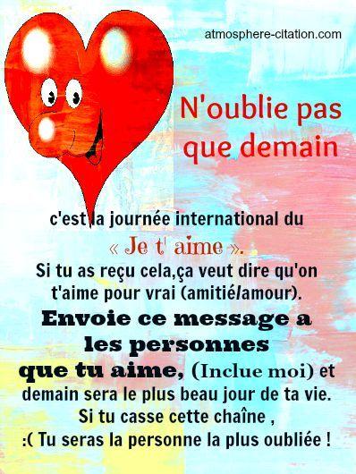 c'est la journée international du « Je t' aime ». Si tu as reçu cela,ça veut dire qu'on t'aime pour vrai (amitié/amour). Envoie ce message a  les personnes  que tu aime, (Inclue moi) et demain sera le plus beau jour de ta vie. Si tu casse cette chaîne , :( Tu seras la per