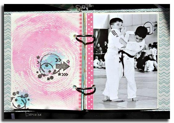Album de judo conçu par Gervaise. Ici c'est le tracé concentrique à l'encre rose qui m'impressionne...