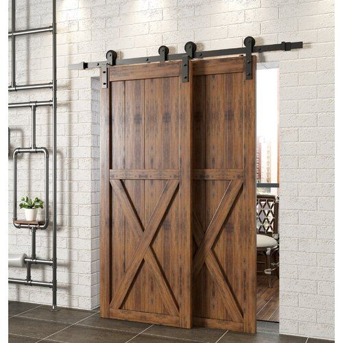 Wood And Glass Barn Door Without Installation Hardware Kit In 2020 Bypass Barn Door Bypass Barn Door Hardware Barn Doors Sliding