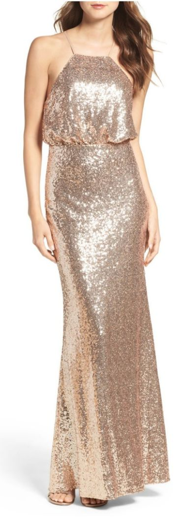 Strappy Sequin Blouson Gown
