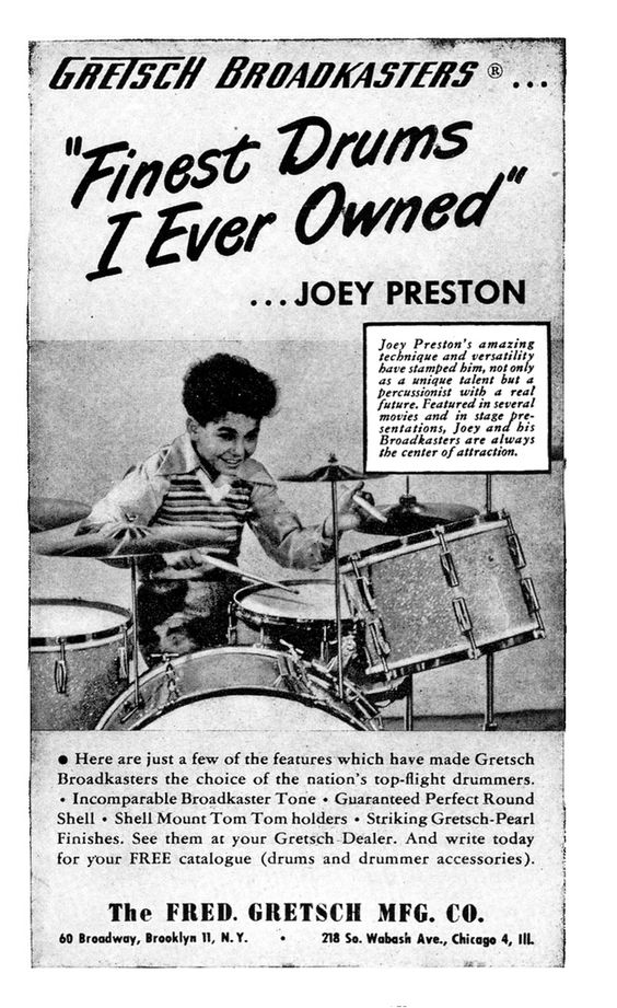 "Gretsch ad ""Finest Drums I Ever Owned."""