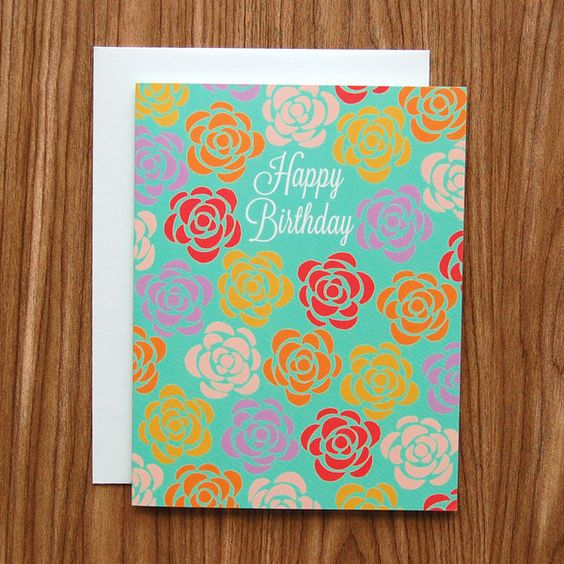 Happy Birthday Roses Card from Happy Cactus Designs