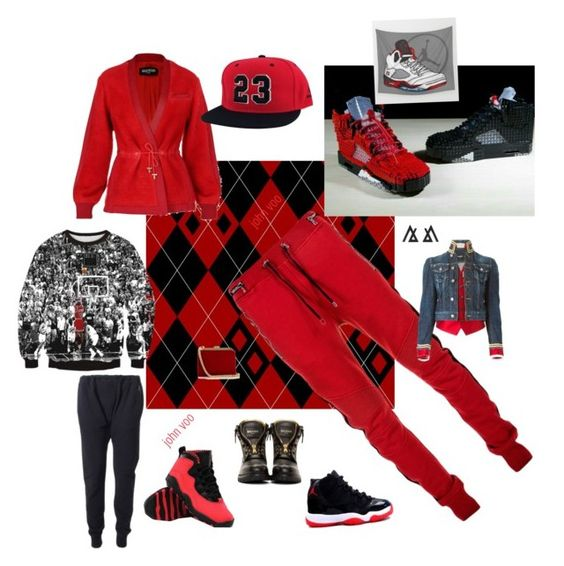 """jordan /balmain hood fresh"" by outerego on Polyvore featuring Balmain, adidas Originals and Dsquared2"