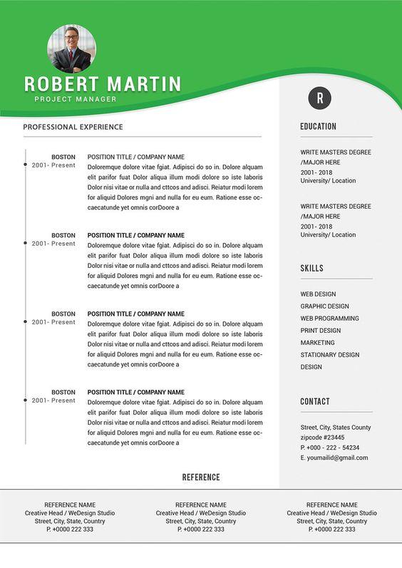 contoh desain cv putih hijau minimalis