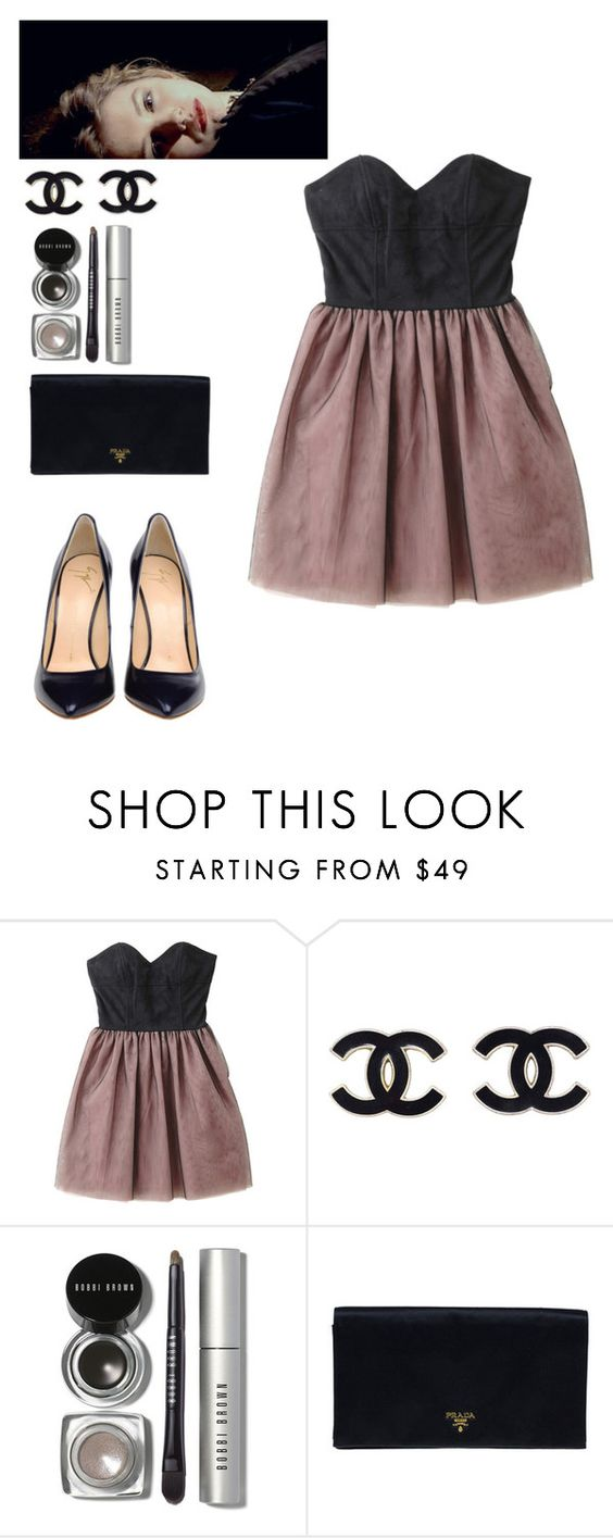 """Untitled #922"" by kaley-drew ❤ liked on Polyvore featuring Bobbi Brown Cosmetics, Prada and Giuseppe Zanotti"