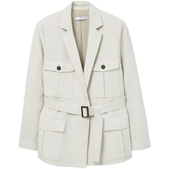 MANGO Pocket Linen-Blend Jacket (€45) ❤ liked on Polyvore featuring outerwear, jackets, mango jackets, long sleeve jacket, lapel jacket, lined jacket and pocket jacket