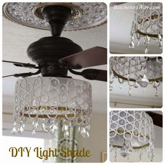 Cool Diy Fan Chandelier Made From Sliced Pvc Pipe Pieces Crystals Master Bedroom On A Budget