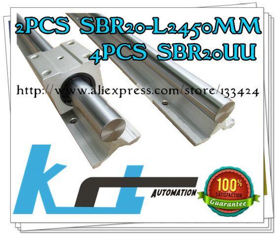 $118.00 (Buy here: http://appdeal.ru/ejtn ) 2pcs SBR20 -L 2450mm Linear shaft Support + 4pcs SBR20UUBearing Blocks for just $118.00
