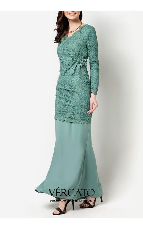Baju kurung moden lace purple long dress