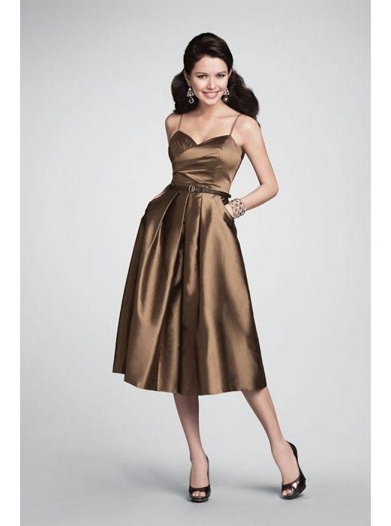 Criss-Cross Tea Length Taffeta Draped Bridesmaid Dress $179.99 Wedding Party Dresses
