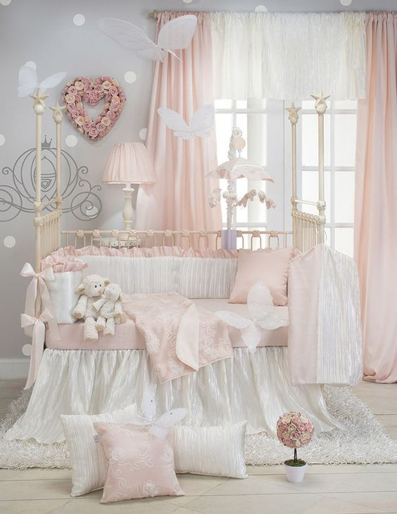 Lil' Princess Sweet Potato Baby Bedding Crib Set 8 PC Ivory Chiffon Satin Pink  #SweetPotato