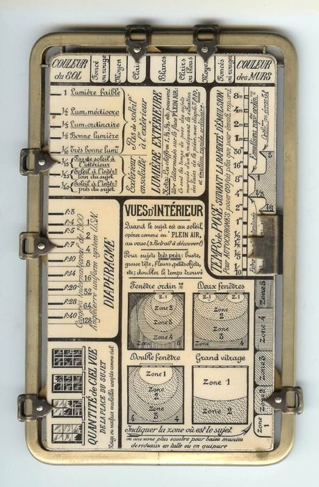 "Kaufmann's Posographe.    An instrument for calculating aperture and exposure time when taking photographs in any possible situation.For outdoors, it includes settings with values like ""Snowy scene"", ""Greenery with expanse of water"", or ""Very narrow old street"", ""Cloudy and somber"", ""Blue with white clouds"", or ""Purest blue""."