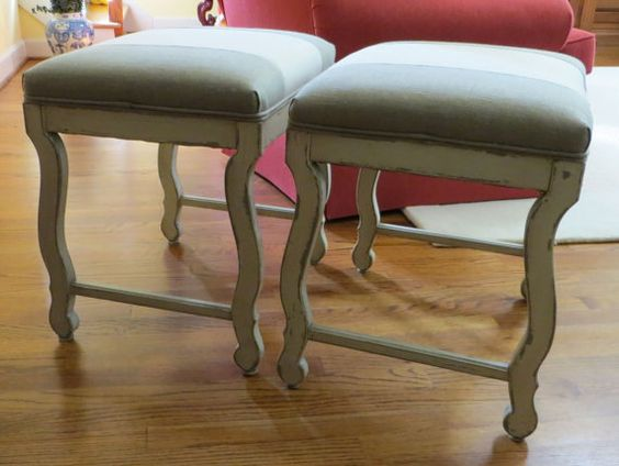 Pair of Twotone Linen Benches  Totally by WydevenDesigns on Etsy, $365.00