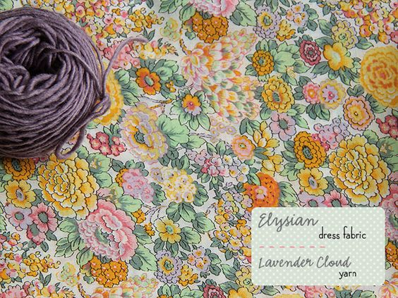 Liberty fabric in shell pink, mint, primrose, pale lavender, dusky sage, sunflower, tangerine & yarn in damson (Posy gets Cosy)