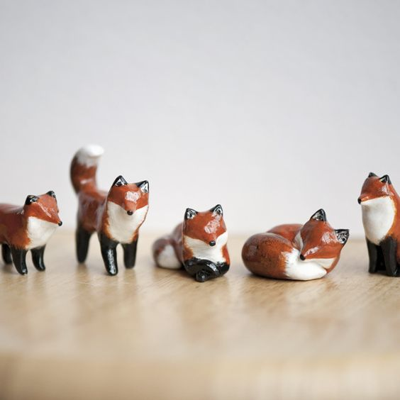 """Le Tricksy Red Fox Totems, 'Muses' collection - polymer clay sealed with polyurethane, about 1.75"""" tall; handmade by Laura Johnston"""