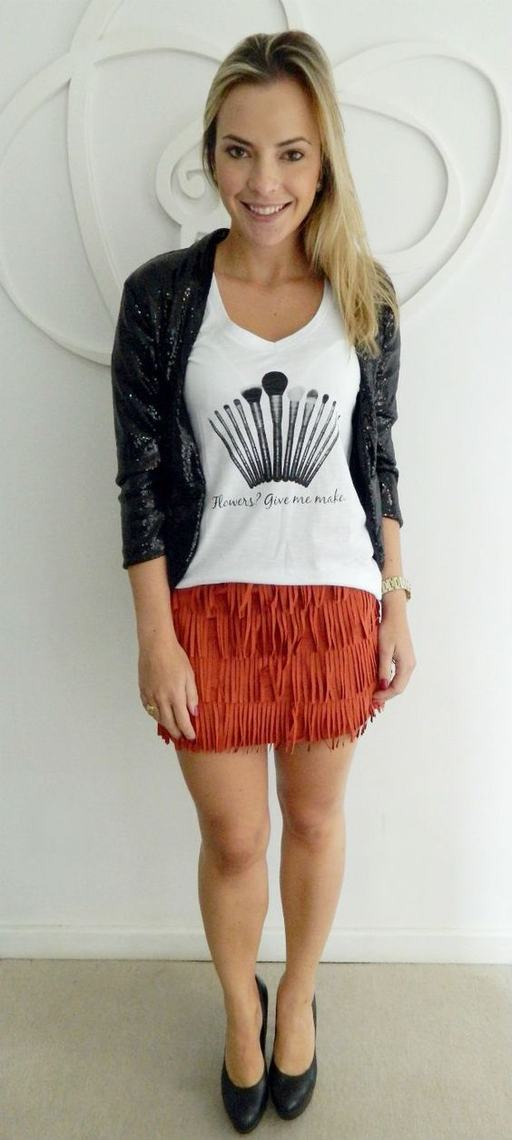 The skirt is very cute and stylish. The shirt with the cardigan is simple and exciting.  -Annette-