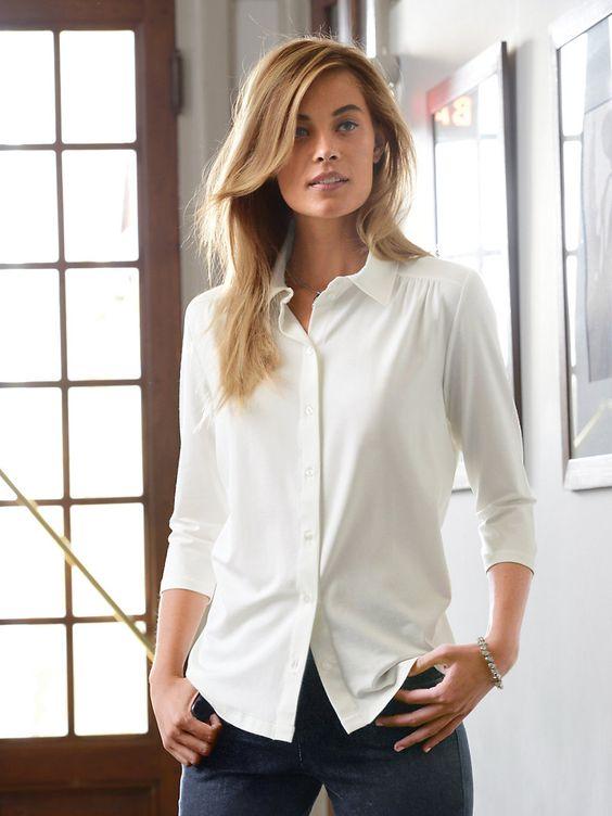 Jersey-Bluse mit 3/4-Arm