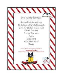 Pete the cats Story books and Printables on Pinterest