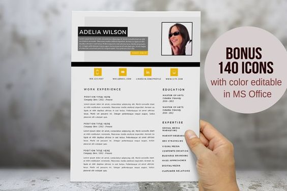 Eye-catching Word resume design by Inkpower on @creativemarket - Eye Catching Resume