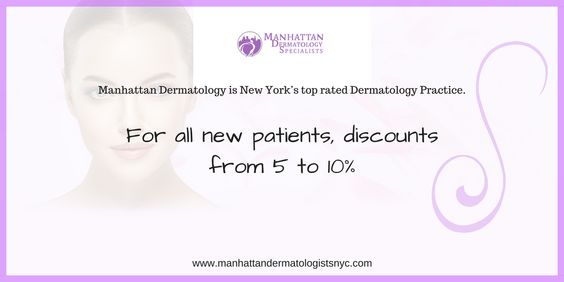 Manhattan Dermatology Specialists is New York's top-rated dermatology practice. We provide treatment for a full range of dermatologic ailments including acne, rosacea, eczema, psoriasis, and warts. A wide variety of cosmetic procedures such as Botox, dermal filler, laser skin tightening, acne scar treatment and stretch mark treatment are offered using the latest techniques. We are happy to announce a limited time event, 5-10% discount on any treatment, for all new patients.