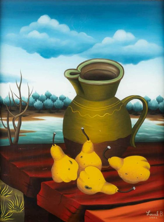 BRANKO LOVAK. STILL LIFE WITH PEARS AND A PITCHER