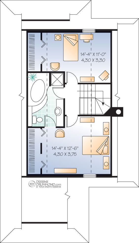 house_plan_maison_Chalet_cottage_Etage_W3901 PLANS Pinterest - plan maison 110m2 etage