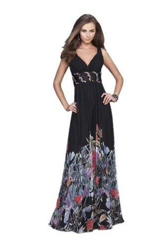 La Femme 14845, Gorgeous Full-length Print Gown