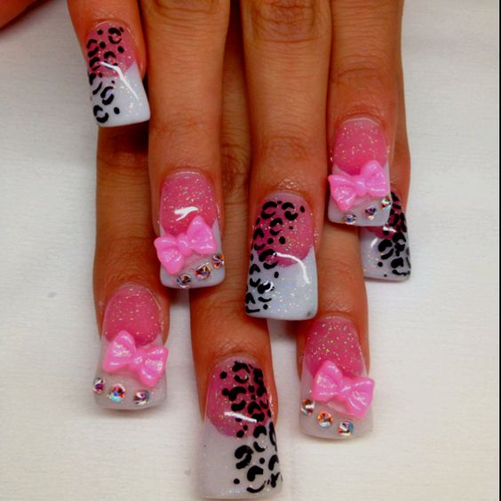 Acrylics, Cute bows and Pink white nails on Pinterest