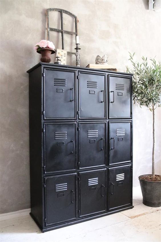 Jeanne Du0027Arc Black Metal Cabinet With An Industrial Look For A Hallway Or  Workroom
