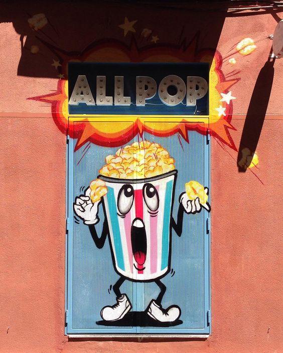 All Pop - specialty popcorn store  #Madrid #malasaña #españa #streetart #graffitiart #graffiti