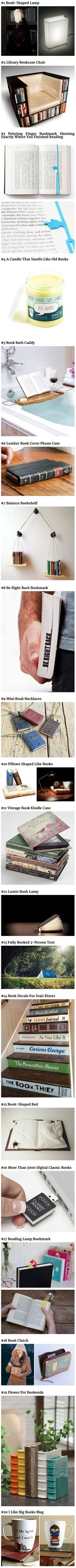 Here are some cool items that book fanatics would love. I want all of these so badly! Book Pillow!: