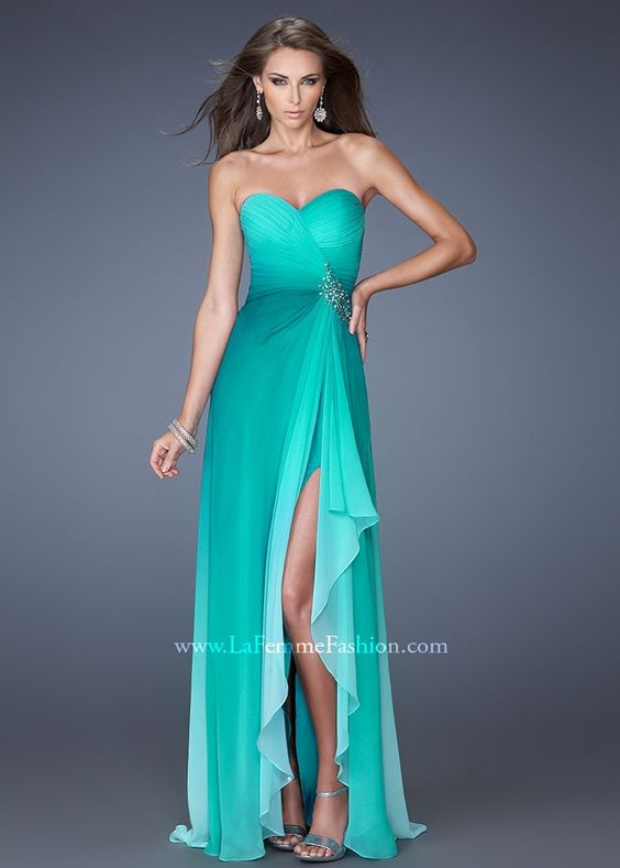La Femme 19894 - Jade Ombre Chiffon Strapless Prom Dresses Online ...