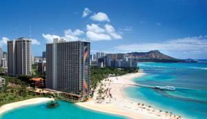 Hilton Hawaiian Village Waikiki Beach Resort, Honolulu, HI. We stayed here. Nice view of Diamond Head from our balcony.-pr