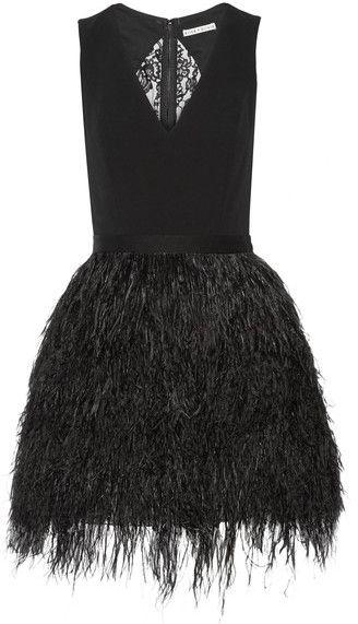 Alice + Olivia - Kiara Crepe And Feather-embellished Organza Mini Dress - Black
