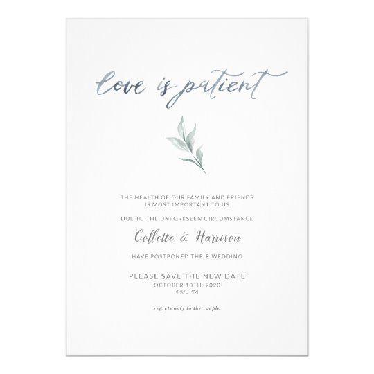 Printable Love is Patient Unsave the Date Change the Date Cards Save the New Date Photo Save the New Date Card Wedding Postponement