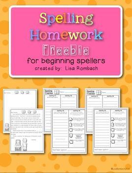 Spelling Homework For Beginning Spellers FREEBIE (grades 1-2) 4 ...